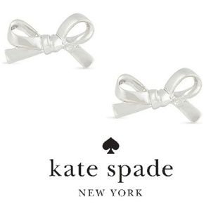 NWT Kate Spade Skinny Mini Silver Bow Stud Earring